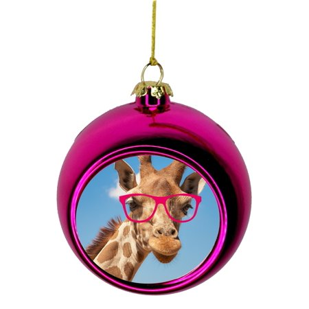 Hipster Giraffe Bauble Christmas Ornaments Pink Bauble Tree Xmas Balls - Walmart.com