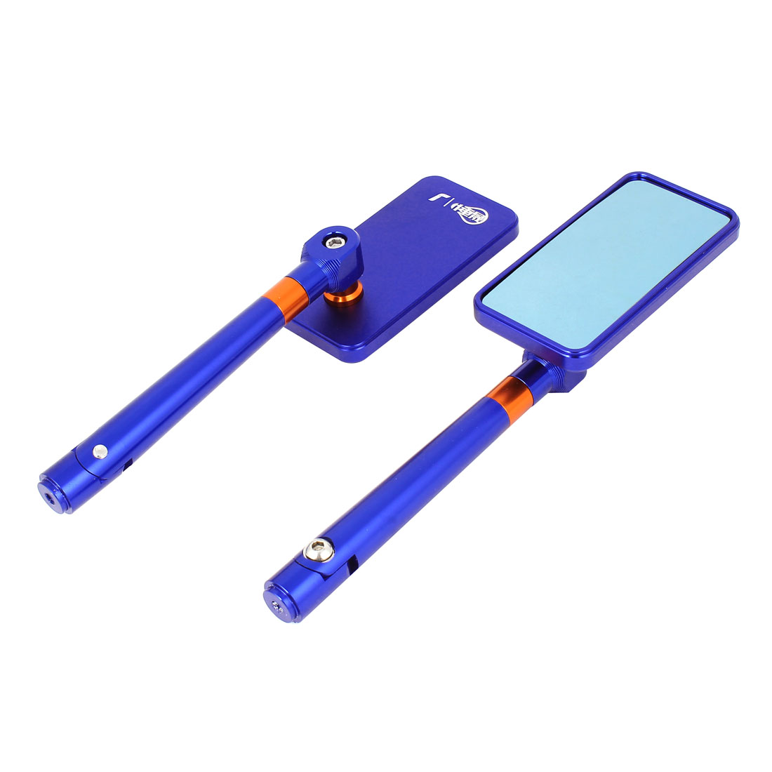 Pair Blue Metal Frame Rectangle Rearview Mirrors for Motorcycle Motorbike