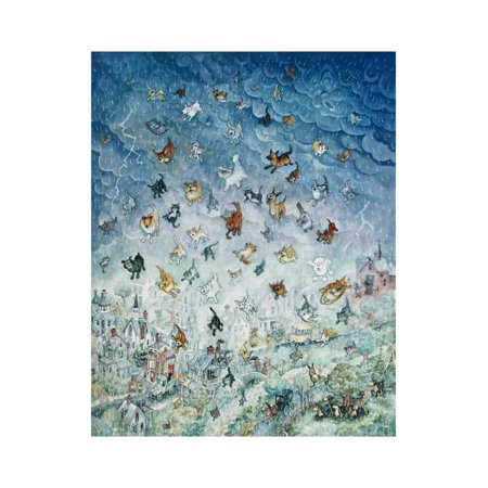Raining Cats and Dogs Print Wall Art By Bill Bell Cat Dog Art