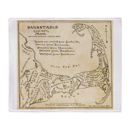 CafePress - Old Cape Cod Map - Soft Fleece Throw Blanket, 50