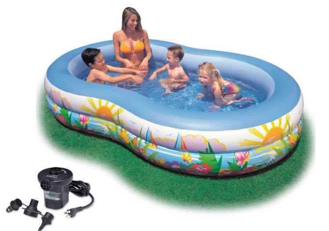 INTEX Swim Center Inflatable Paradise Seaside Kids Swimming Pool w  Air Pump by Intex