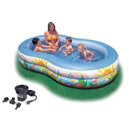 Intex Swim Center Inflatable Paradise Seaside Kids Swimming Pool W Air Pump
