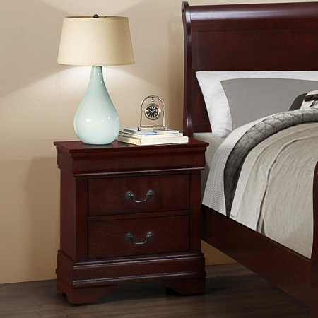 Roundhill Isola Louis Philippe Style Fully Assembled Wood Night Stand, Cherry