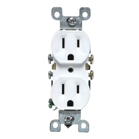 Leviton M12 05320 WMP 15 Amp Duplex Receptacle Grounded White 10 Pack