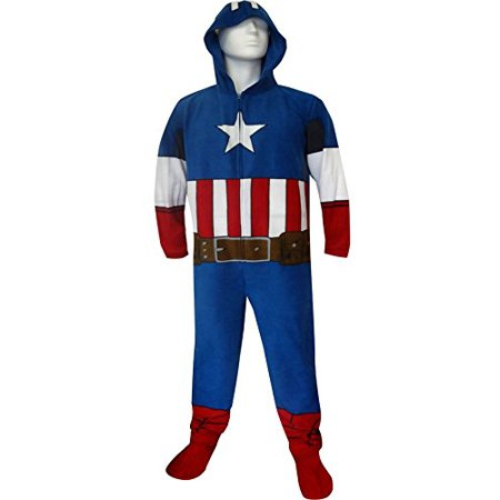 Captain America Footie Pajamas (HOODED ONESIE PAJAMA CAPTAIN AMERICA)