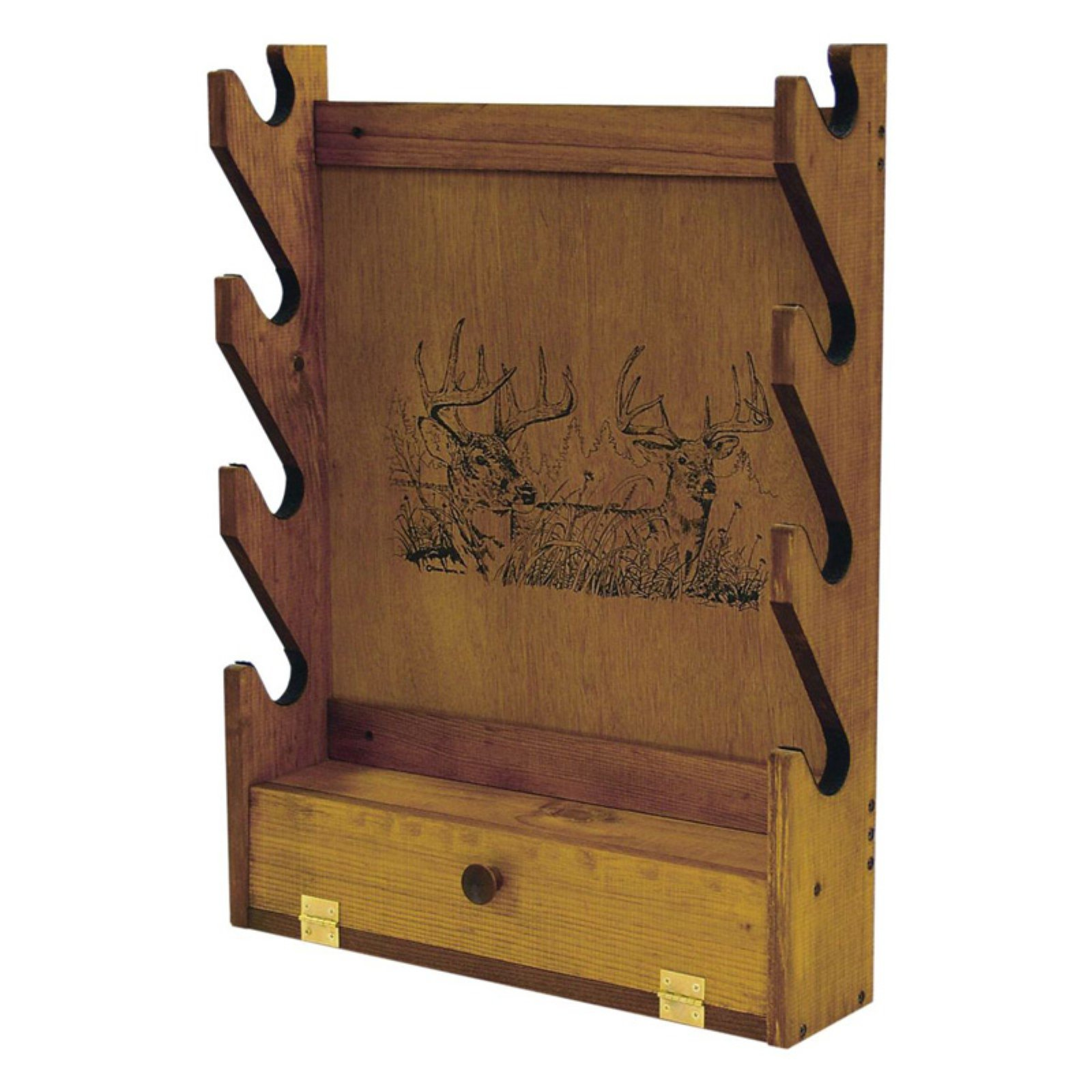 Evans Sports 4/Gun Wooden Rack-Two Trophy Deer Print