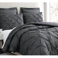Estellar 3pc Charcoal Grey Comforter Set Queen Size Pinch Pleat Pattern Down Alternative Pintuck Bedding by Cozy Beddings