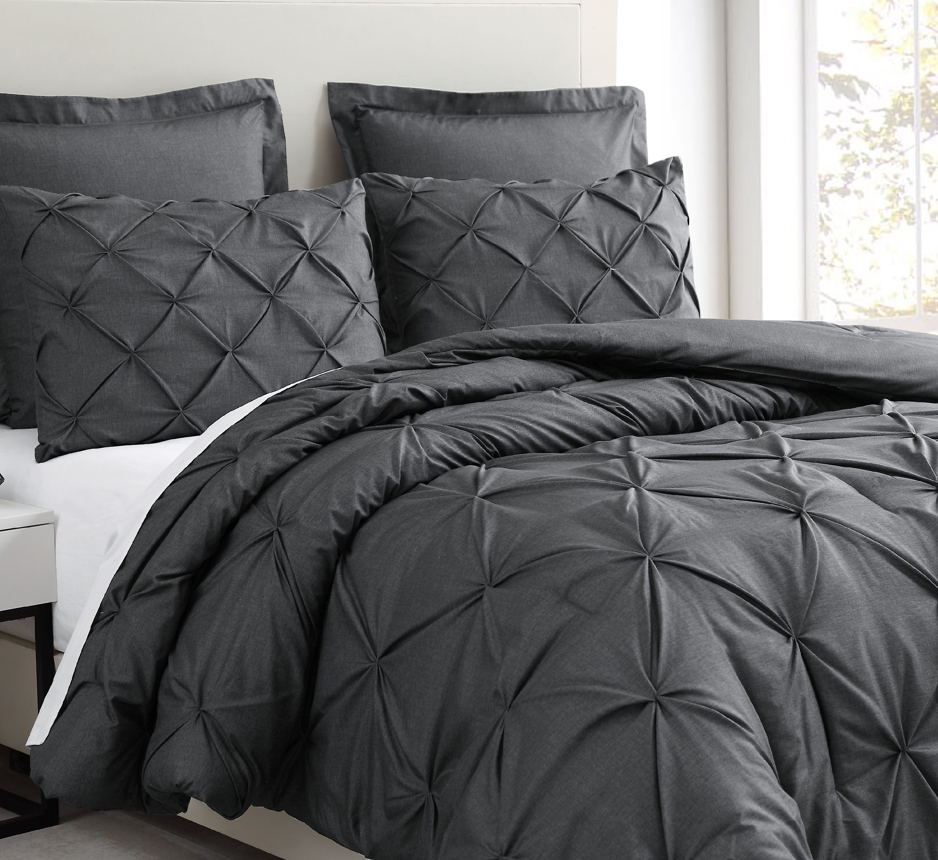 Estellar 3pc Light Grey Comforter Set Queen Size Pinch Pleat Pattern Down Alternative Pintuck Bedding by Cozy Beddings