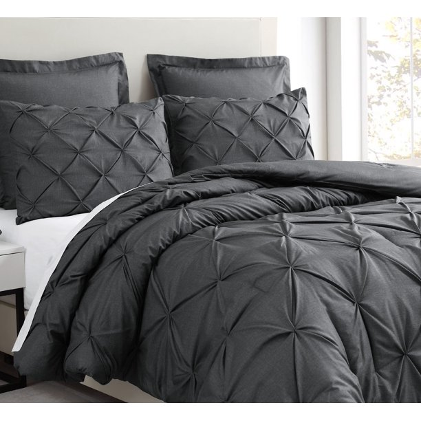 Estellar 3pc Charcoal Grey Comforter Set Queen Size Pinch Pleat Pattern Down Alternative Pintuck Bedding by Cozy Beddings