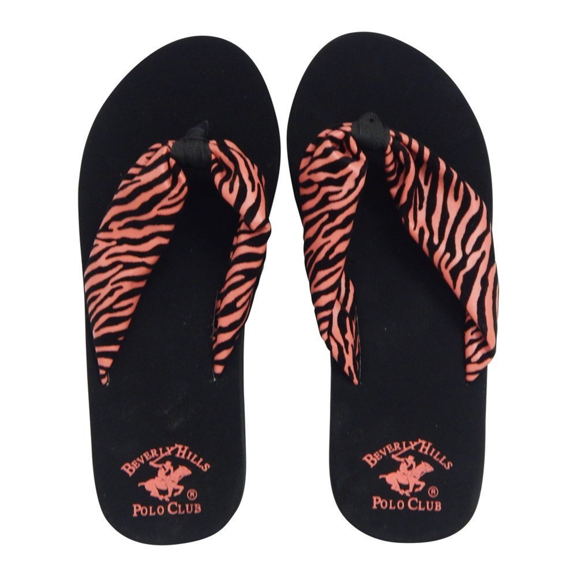 Beverly Hills Polo Club Rona Women's Zebra Platform Wedge Flip Flop Sandal Thong (6 US, Coral & Black)