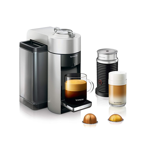 Nespresso Vertuo Coffee And Espresso Machine With Aeroccino Milk Frother By De'longhi, Silver (Capsule Not Included), Open Box by Nespresso
