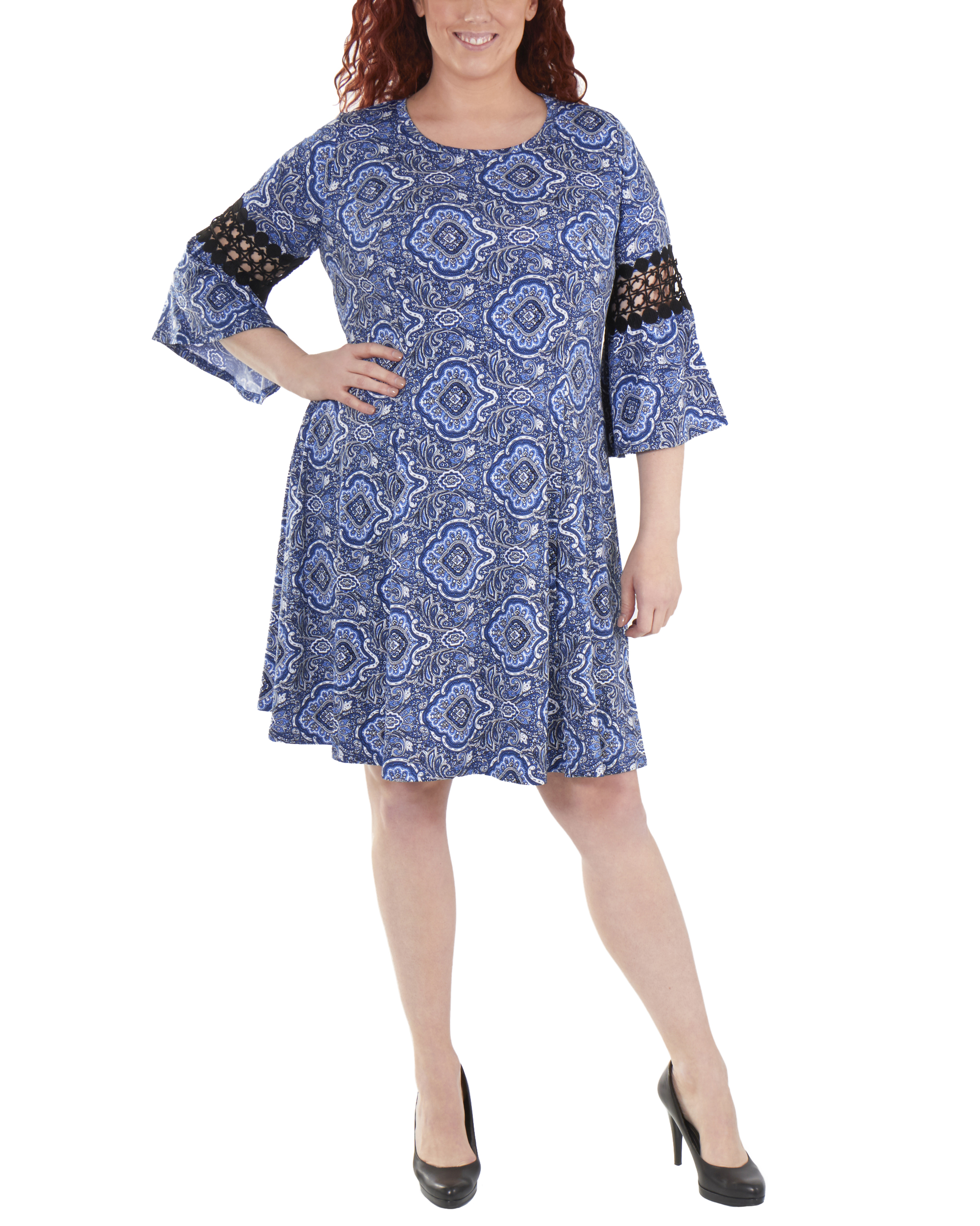 Plus Size Bell Sleeve Crochet Sleeve Trim Dress