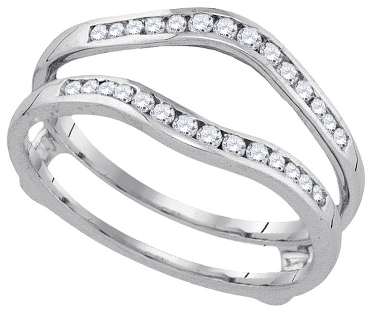 Mia S Collection 14kt White Gold Womens Round Diamond Ring Guard