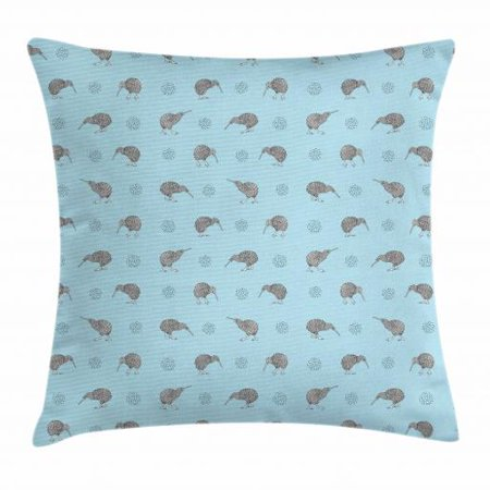 Grey Blue Throw Pillow Cushion Cover, Kiwi Birds Indigenous New Zealand Animals Doodle Style Tropical Wildlife, Decorative Square Accent Pillow Case, 24 X 24 Inches, Pale Blue and Grey, by (New Zealand Kiwi Bird)