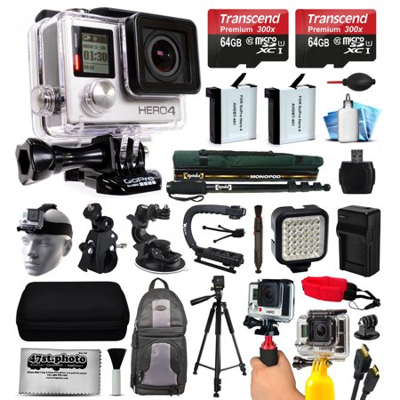 Gopro Hero4 Hero 4 Black Edition 4K Action Camera Camcorder With 2X Micro Sd Cards  2X Battery   Charger  Backpack  Helmet Strap  Handle  Car Mount  Selfie Stick  Tripod  Travel Case And More