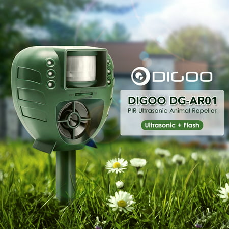 Ultrasonic Animal Repeller, Digoo Garden Patio Ultrasonic Animal Control Pest Bird Dog Cat Rat Mice Insect Deterrent Repellent Repeller, With PIR Sensor Flash Light - Insect Animals