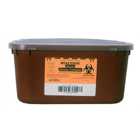 Sharps Container, 1 Gallon, Stackable Multi-purpose 2-Piece, Horizontal Entry Lid - Each