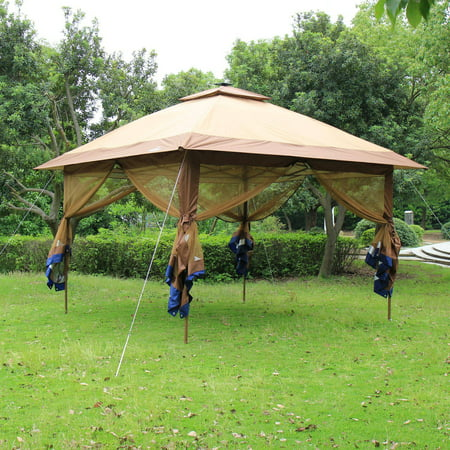 Suntime ST-1 Fully-Enclosed Canopy Instant-Popup Gazebo with Solar-Powdered LED Lights and Mesh Insect Screen
