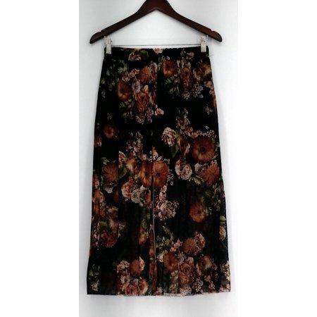 Kate & Mallory Pants S Floral Print Stretch Waist Mesh Lining Black A434923