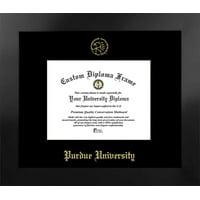 Purdue University 9.625w x 7.625h Nova Black Single Mat Gold Embossed Diploma Frame with Bonus Campus Images Lithograph (value savings at $59)