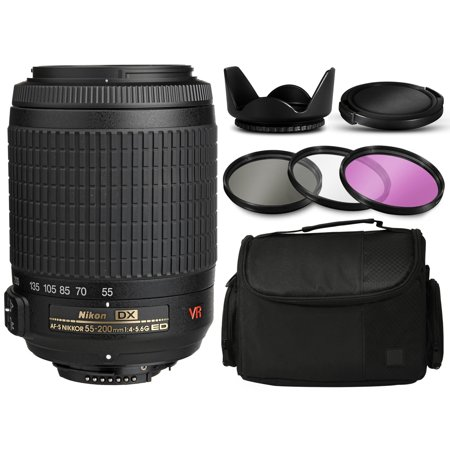 Nikon AF-S DX VR Zoom-NIKKOR 55-200mm f/4-5.6G IF-ED Lens 2166 with Deluxe Accessories Bundle Package includes 3 Filters (UV-CPL-FLD) + Flower Tulip Hood + Extra Lens Cap Cover + Large Padded Case