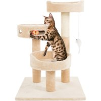 "PETMAKER Cat Tree with Hanging Toys and Scratching Post, 3 Tier 27.5""H, Tan"