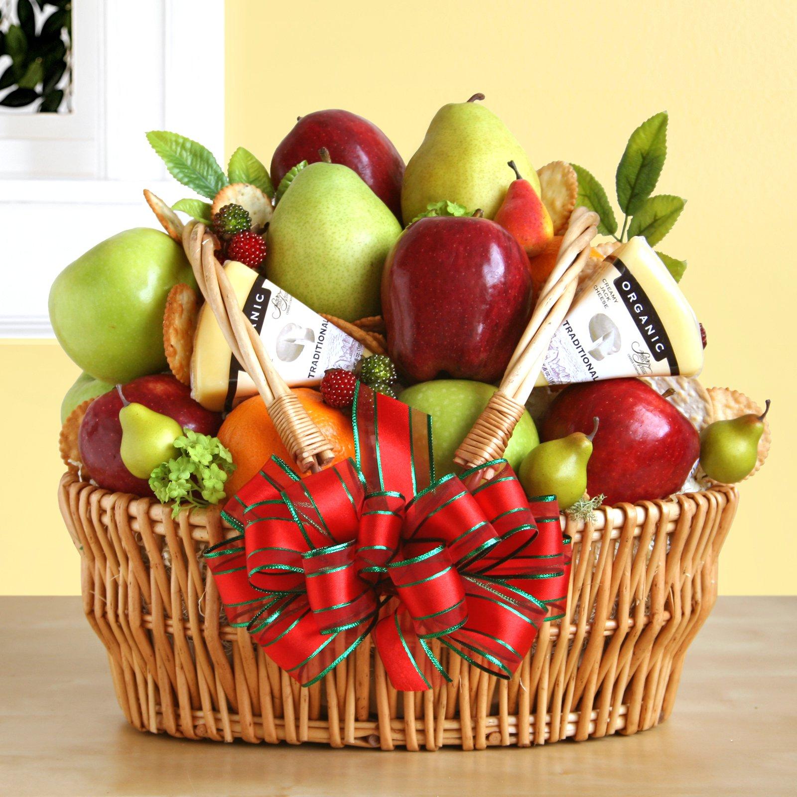 Natural Organic Fruit & Cheese Gift Basket