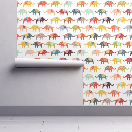 Removable Water-Activated Wallpaper Colorful Elephant Illustrated Animal Kids