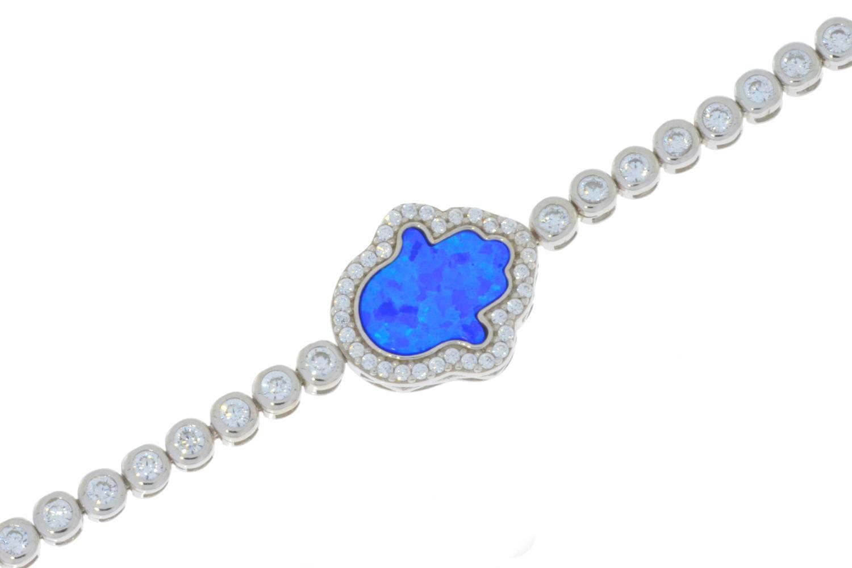Blue Opal Hamsa Cubic Zirconia Bracelet .925 Sterling Silver by Elizabeth Jewelry Inc