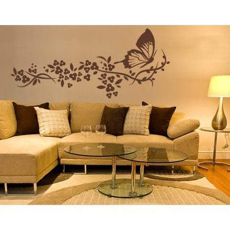 Butterfly Flight Wall Decal - wall decal, sticker, mural vinyl art home decor - 1006 - White, 28in x 12in