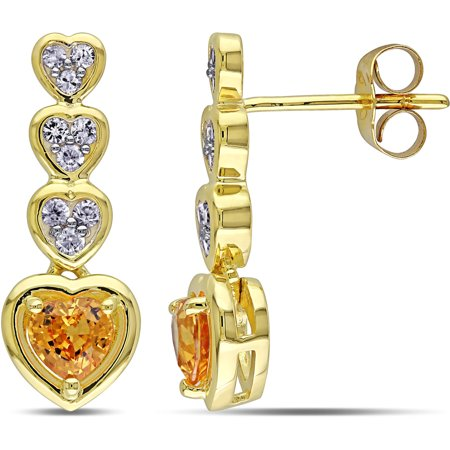 Multi Sapphire Earrings (1-2/5 Carat T.G.W. Yellow and White Sapphire 10kt Yellow Gold Multi-Heart Drop Earrings)