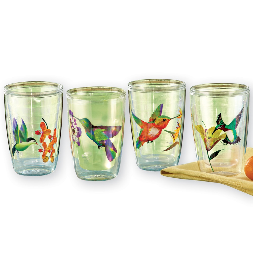 Hummingbird Insulated Tumblers - Set Of 4, Multi