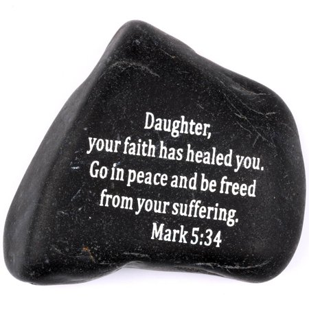 Engraved Inspirational Scripture Biblical Black Stones collection - Stone X : Mark 5:34 :