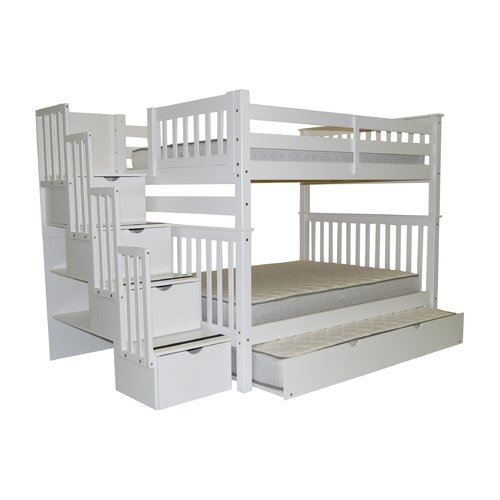 Bedz King Stairway Bunk Beds Full over Full with 4 Drawers in the Steps and a Full Trundle, Cappuccino by Bedz King