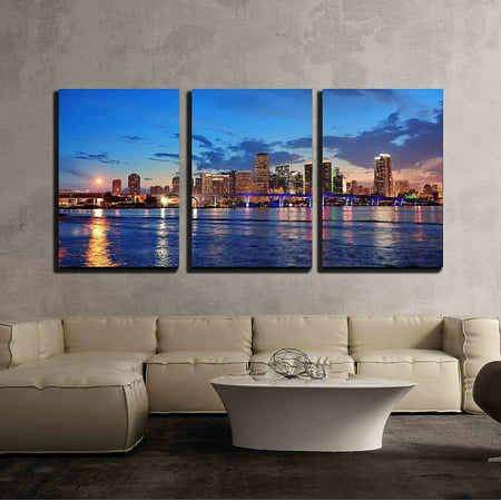 Skyline Skyscrapers (wall26 - 3 Piece Canvas Wall Art - Miami City Skyline Panorama at Dusk with Urban Skyscrapers and Bridge over Sea - Modern Home Decor Stretched and Framed Ready to)