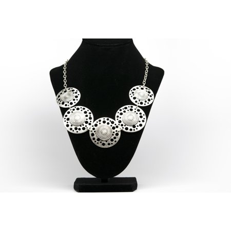 Round Antique Silver Plated Vintage Necklace with Adjustable Length Silver Plated Vintage Necklace
