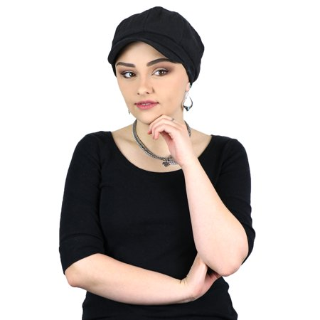Newsboy Cap for Women Cabbie Gatsby Summer Hats Ladies Chemo Headwear Head Coverings Belfast Black for $<!---->