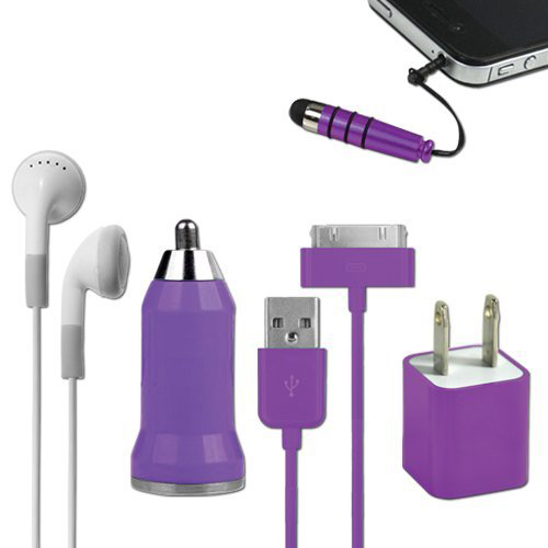 iCover 5-in-1 Travel Kit for iPhone 4/4S and 4th Generation iPods - Purple