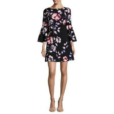 9d84f59c Eliza J Dresses - Eliza J Women's Floral Print Bell-Sleeve Sheath Dress -  Walmart.com