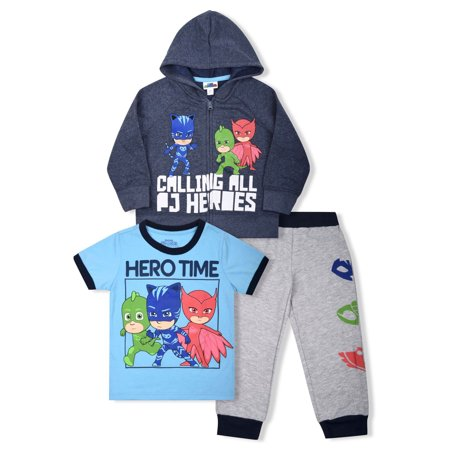 098207a2 PJ Masks - PJ Masks Toddler Boys' Zip Hoodie, T-shirt & Jogger Pants ...