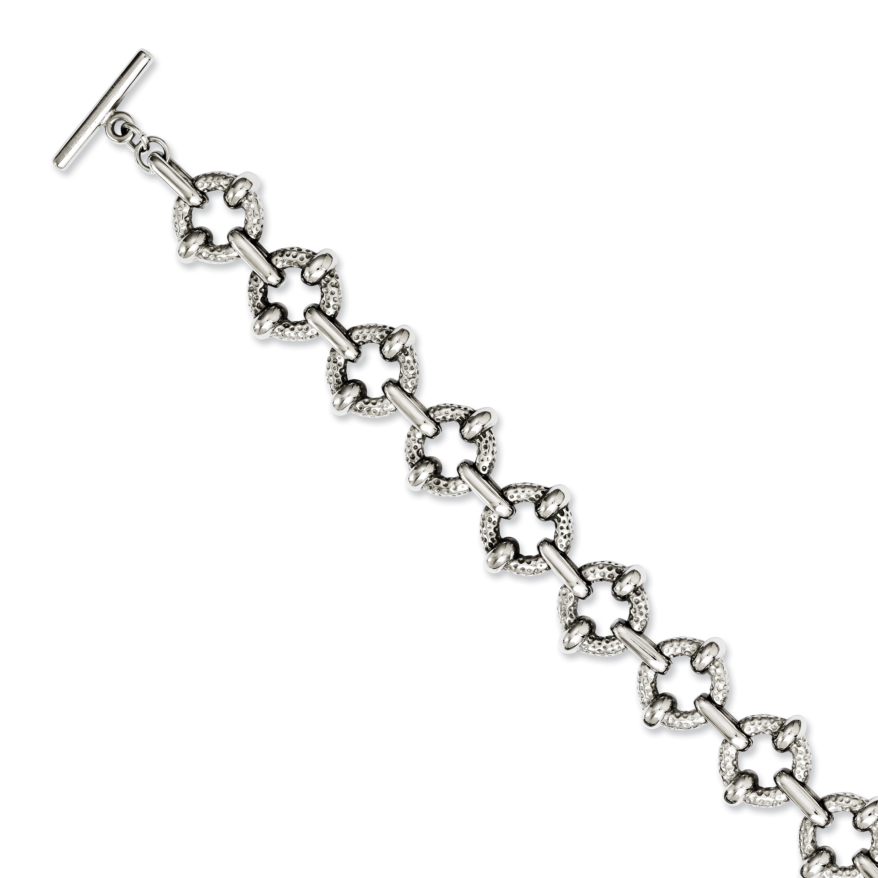 Roy Rose Jewelry Stainless Steel Polished & Textured Circles  Toggle Bracelet ~ Length 8'' inches