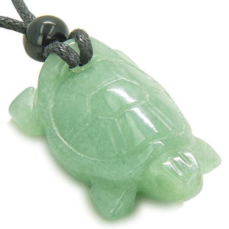 Green Turtle Charm (Amulet Lucky Charm Turtle Green Quartz Good Luck Powers Pendant Necklace)
