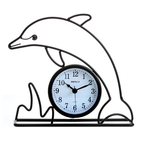 Maples Sales Dolphin Silhouette Table Clock - Black