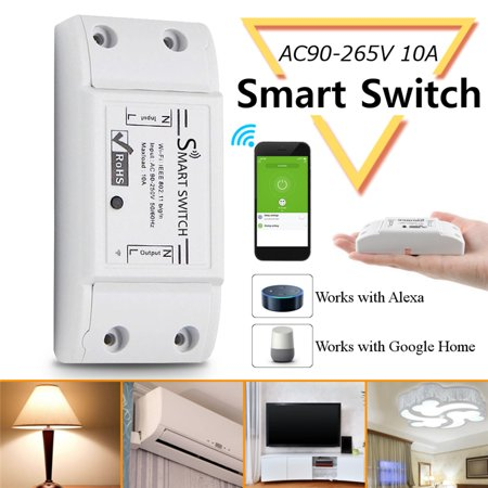 AC90-265V 10A 2200W Smart Wifi Switch Wireless Remote Control, Universal Home Intelligent Switch, for Household Electrical, Timing Function, Voice Control, Compatible with Alexa