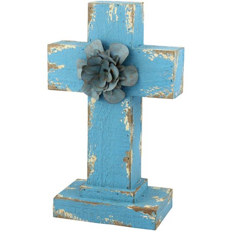 """11"""" Weathered Wood Cross Pedestal with Blue Gem Turquoise Metal Flower Accent"""
