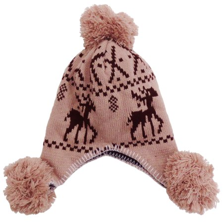 Women's Winter Warm Pom Pom Beanie Hats Caps with Ear Flap, Khaki Deer