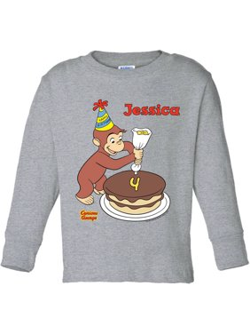Personalized Curious George It's My Birthday Toddler Gray Long Sleeve Tee