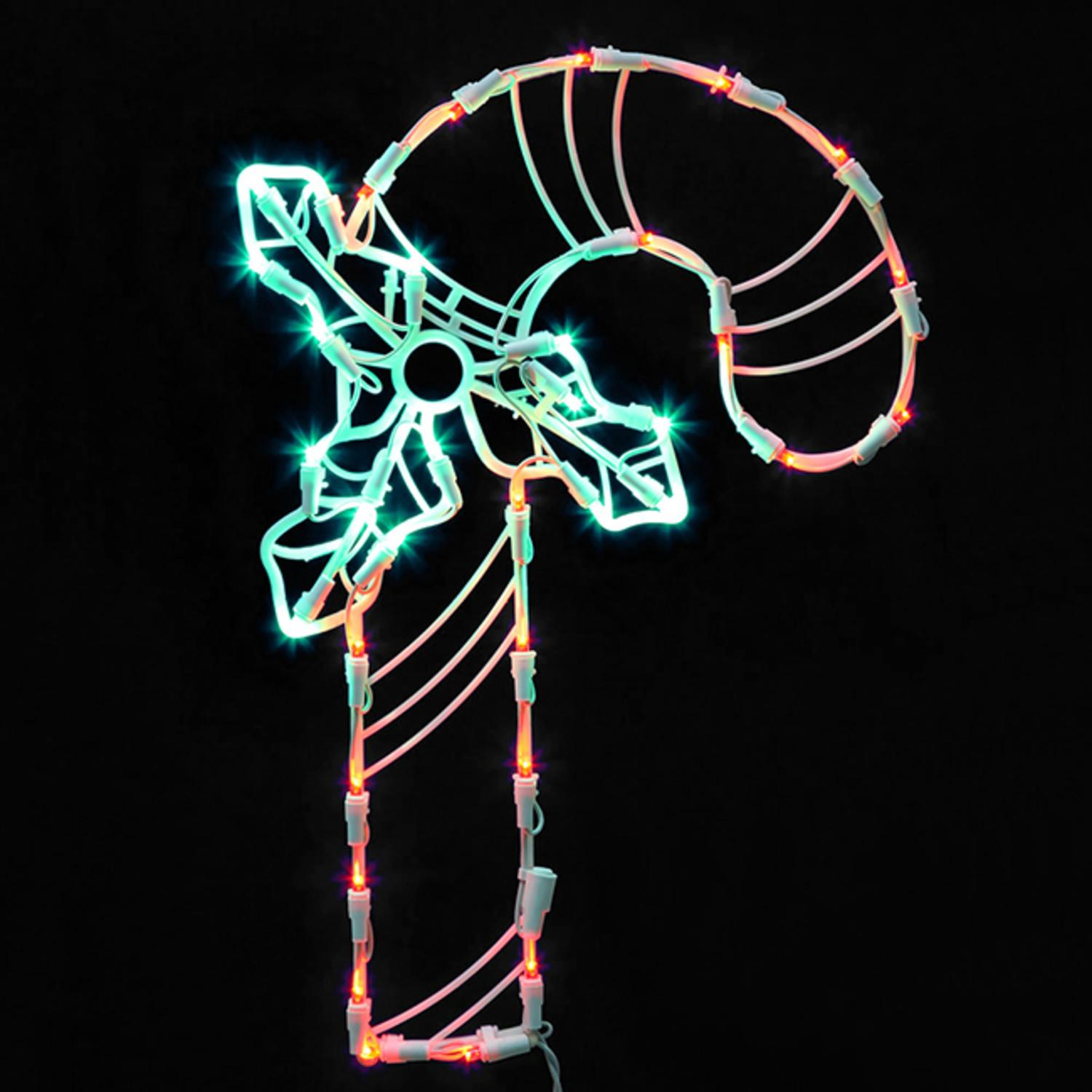 "16.75"" Lighted LED Candy Cane Christmas Window Silhouette Decoration"