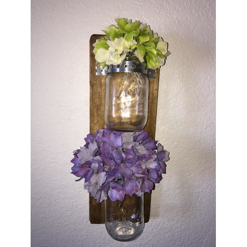 Established 98 Wood and Glass Double Wall Vase