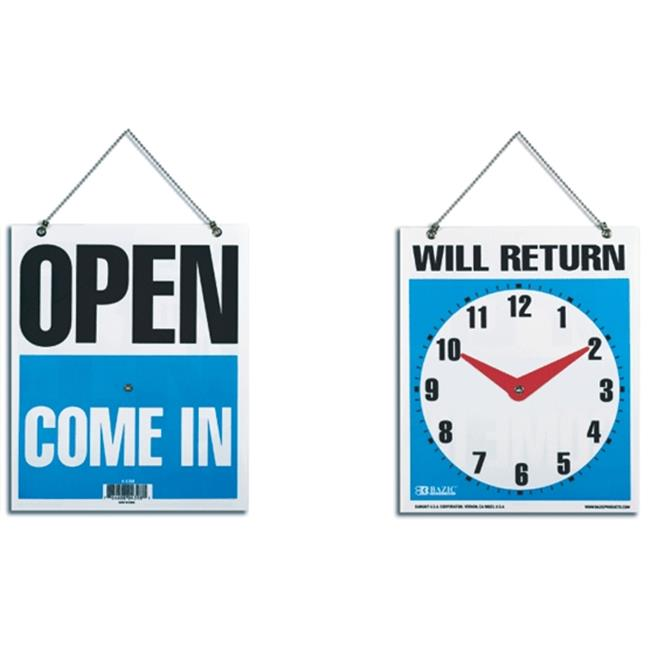 Bazic 4398-144 BAZIC 7.5 in. X 9 in. in. WILL RETURN in. Clock Sign with in. OPEN in. sign on back Case of 144